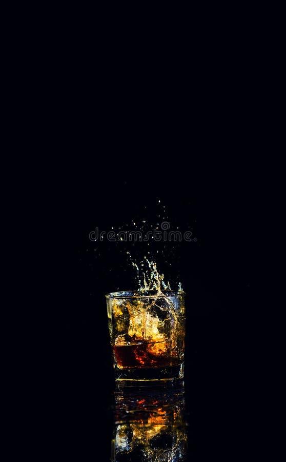 Free Isolated Shot Of Whiskey With Splash On Black Background Stock Image - 150885761