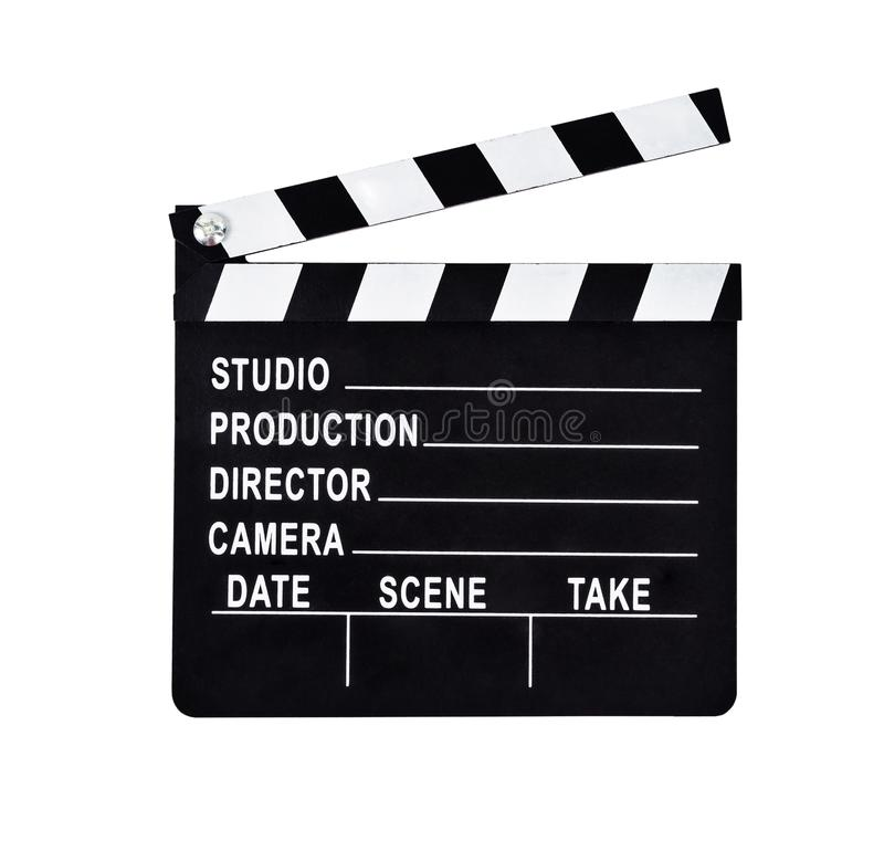 An isolated shot of a studio clapboard for film production. Save clipping path stock images