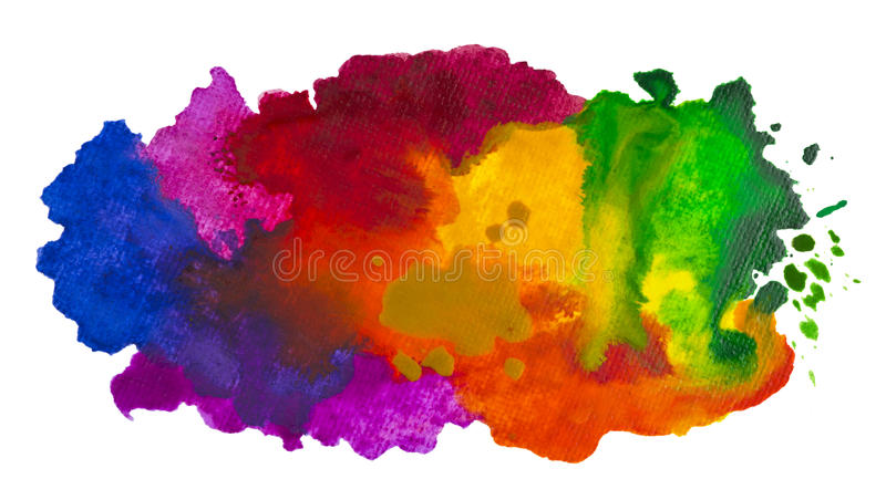 Isolated shot of watercolor cloud hand drawn on canvas.  royalty free stock photos