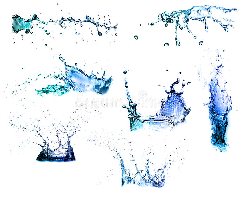 Isolated shots of water splashing royalty free stock photo