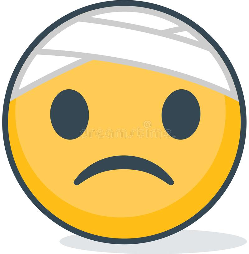 Isolated sick emoticon. Isolated emoticon. royalty free illustration