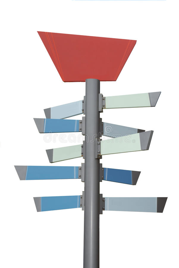 Isolated Sign with 10 Panels. An isolated sign with a red parallelogram at the top and ten blue, light blue and greenish grey tabs that can hold words or royalty free illustration