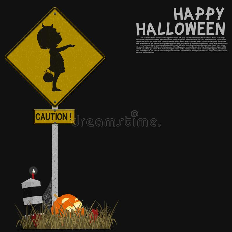 Isolated signpost about kids caution on black background.  vector illustration