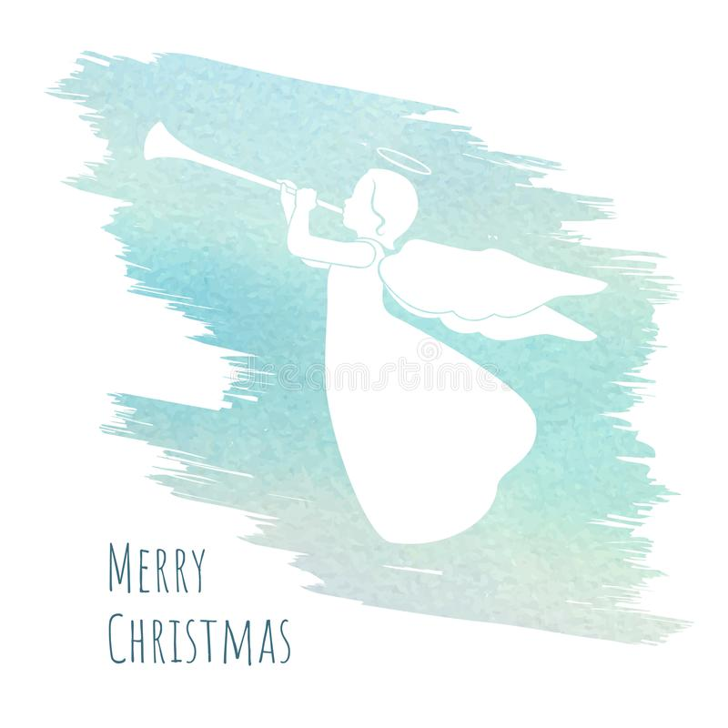Merry Christmas card with angel and trumpet vector illustration
