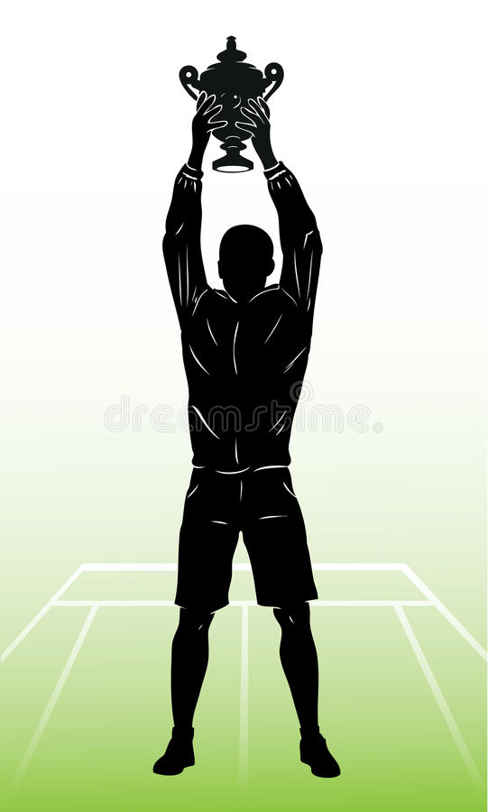Isolated Silhouette Of Tennis Champion And Trophy Stock Photos
