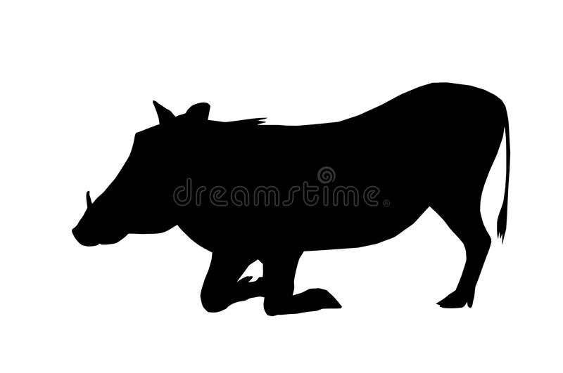 Download Isolated Silhouette Warthog On Knees Stock Vector - Image: 26261345