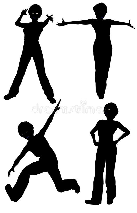 Isolated Silhouettes of women in various poses royalty free stock image