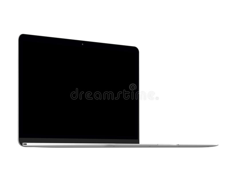 Isolated silver laptop computer mockup. On white background vector illustration