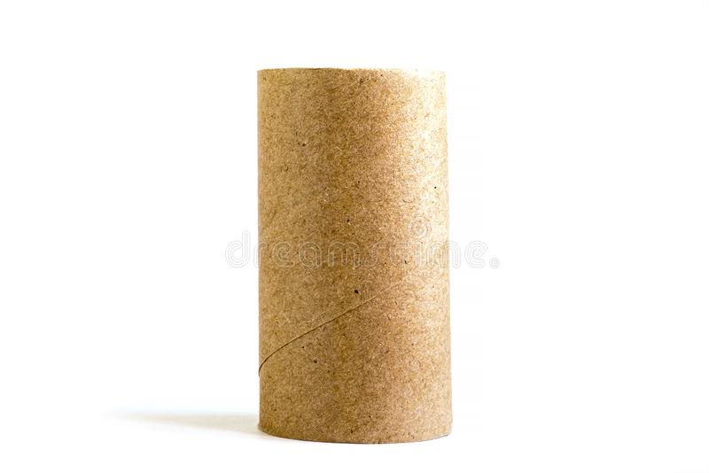 Isolated single cardboard paper tube on white background. Close-up of empty toilet roll royalty free stock photography