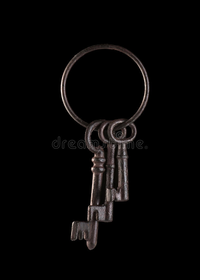 Isolated Skeleton Keys. On the black stock images