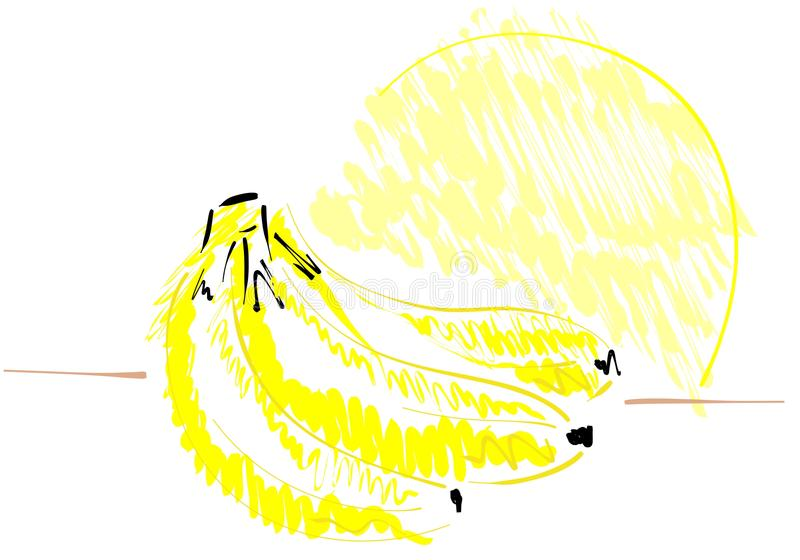 Isolated Sketch Of Bananas Stock Illustration