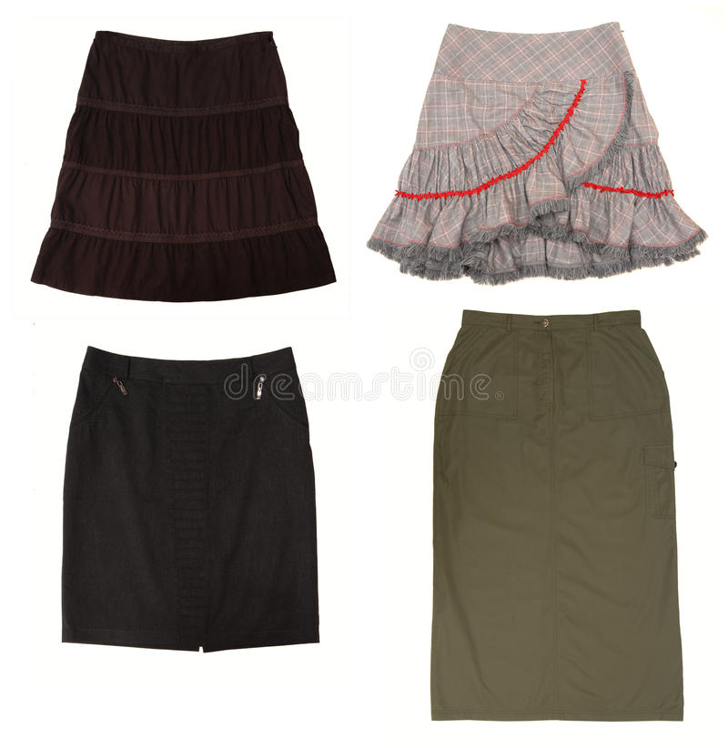 Isolated skirts on white background royalty free stock images