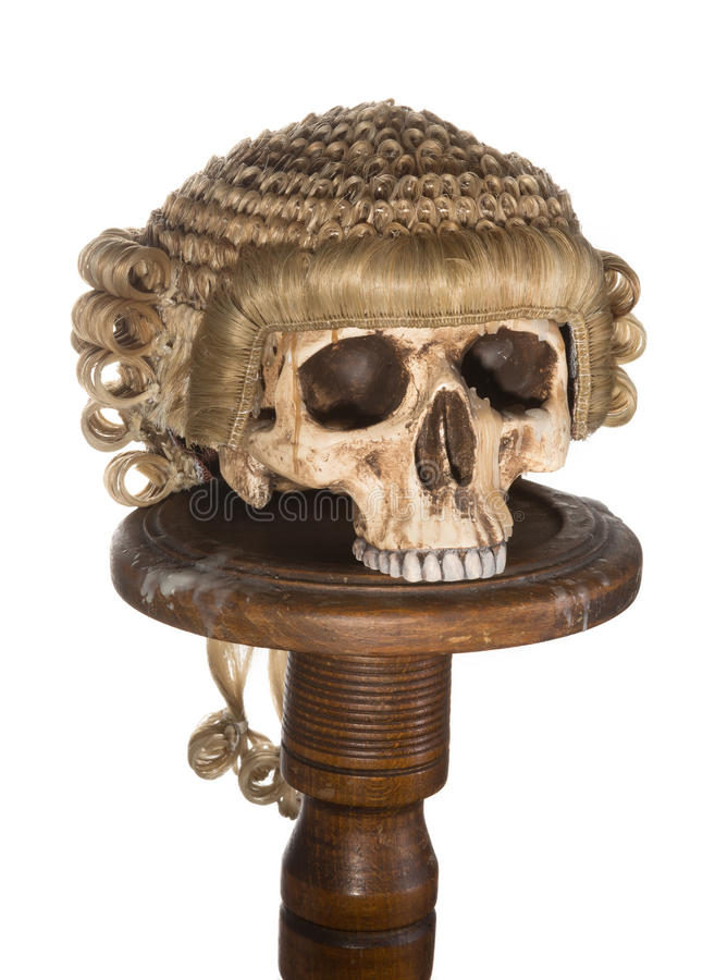 Isolated Skull With Court Wig Stock Image