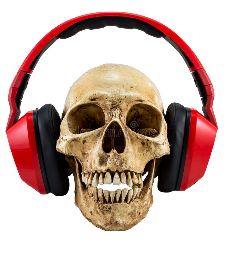 Isolated Skull with red headphone royalty free stock image