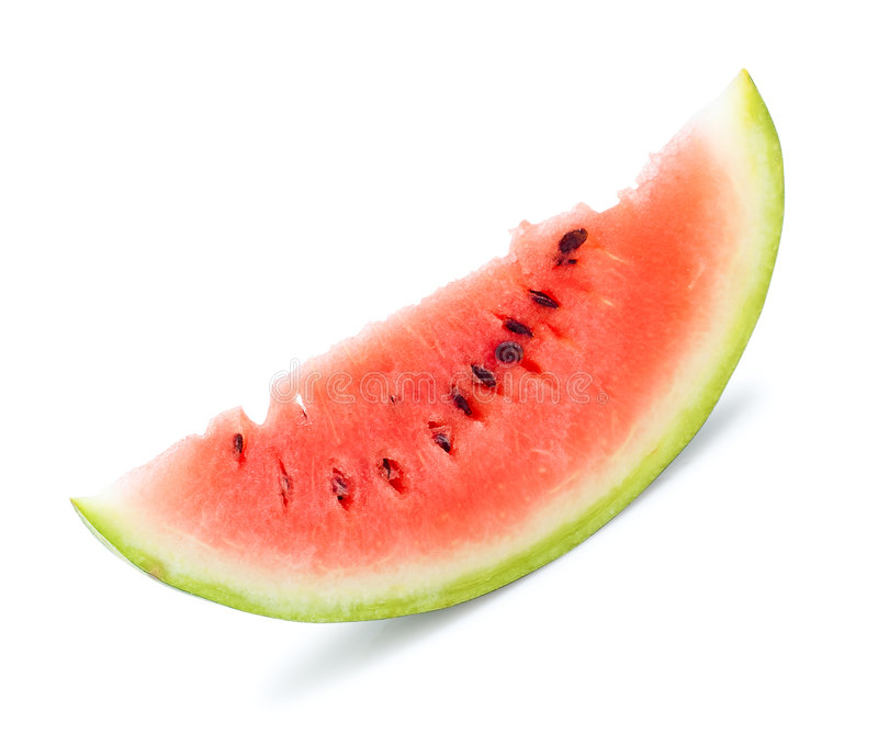 Isolated slice of water melon. White background royalty free stock images