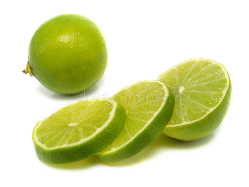 Isolated sliced lime royalty free stock images