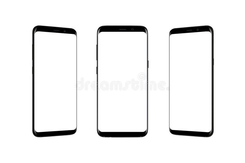 Isolated smart phone in three position stock photos