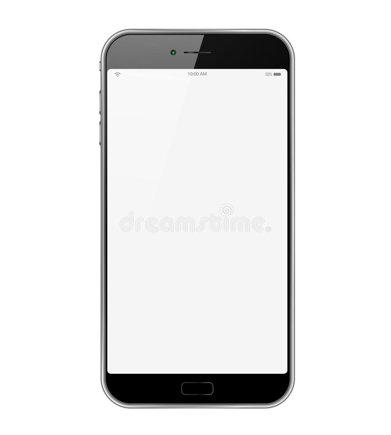 Isolated Smartphone. Isolated new Smartphone with white screen and black frame in white background royalty free illustration