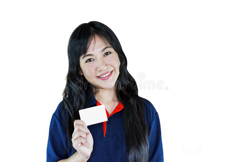 Isolated smiling Asian women presenting blank member or name car stock photos