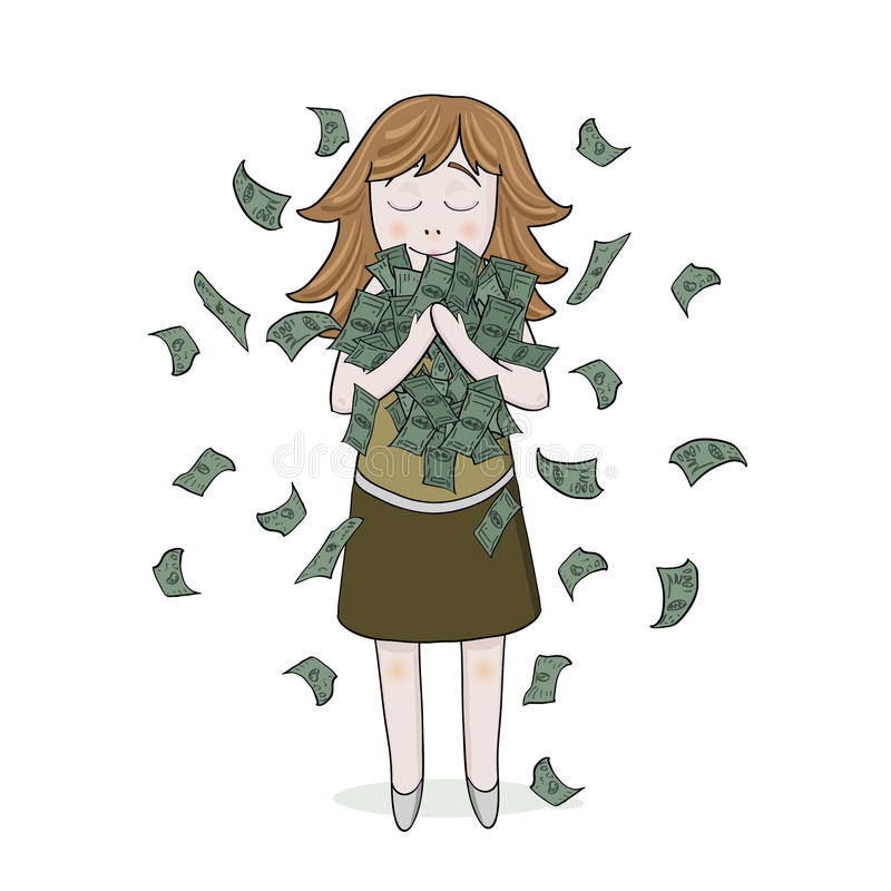 Download Isolated Smiling Girl With Money Stock Vector - Image: 43296003
