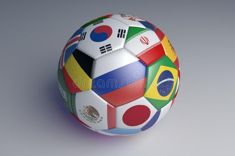 Isolated soccer ball with colors flags of states on a gray background, 3d rendering. stock illustration
