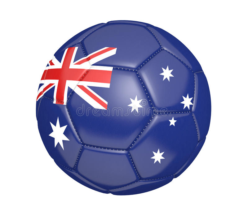 Isolated soccer ball, or football, with the country flag of Australia, 3D rendering royalty free illustration
