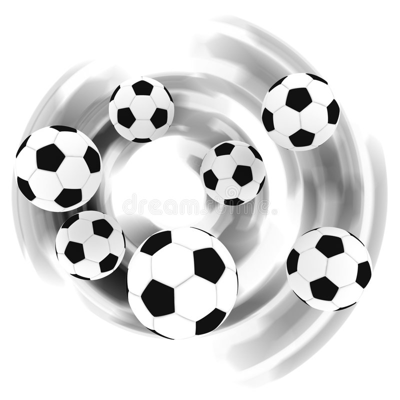 Isolated soccer balls stock images