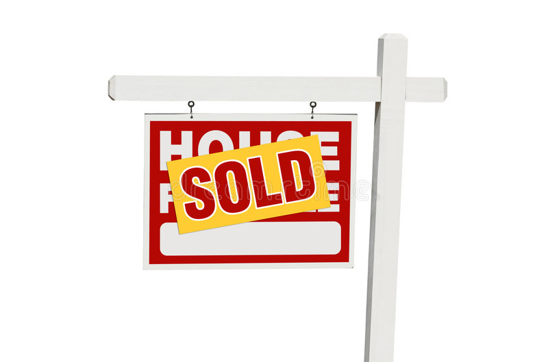 For Sale Sold Sign: Isolated Sold Home For Sale Sign Stock Images