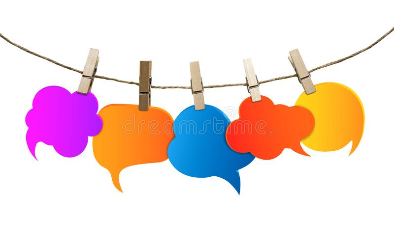 Isolated speech bubble various colors. Gossip. Social network. Chatter speaking and communication. Information. Group of empty bal vector illustration