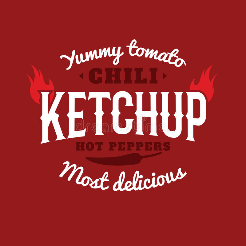 Isolated spicy ketchup vector logo. Natural product retro style emblem. White and vinous color sticker. Chili peppers sauce logotype. Old school style sticker stock illustration
