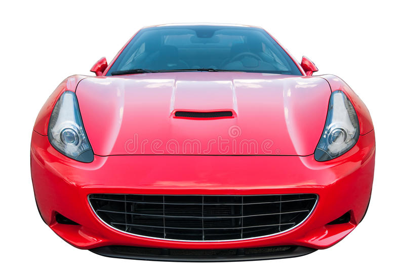 Isolated Sports Car. Isolated racing sports car. Red color with wild headlights. Frontal view