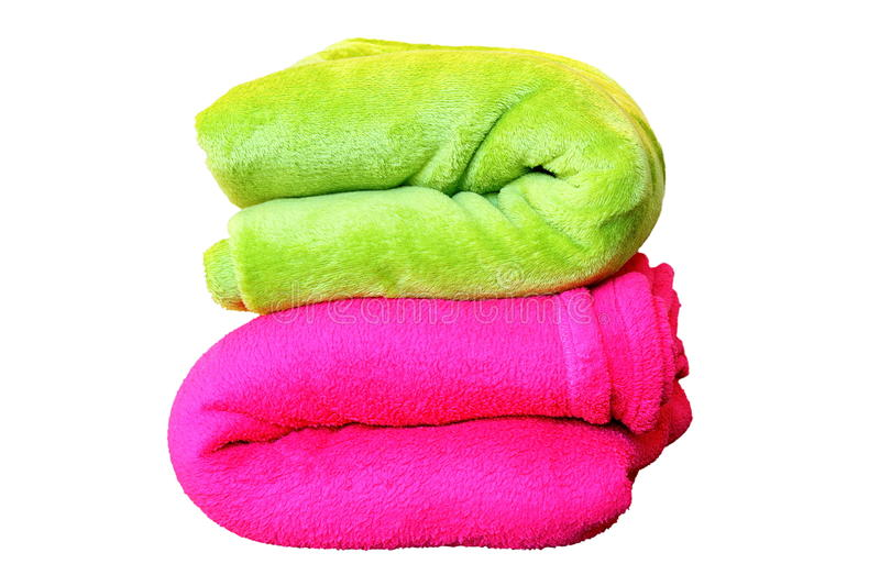 Isolated stack of colorful blankets stock images