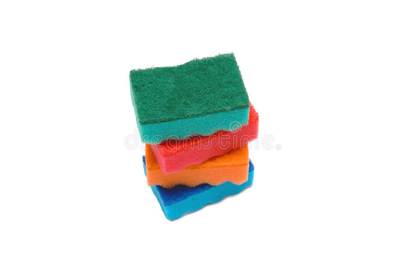 Isolated stack of sponges on white