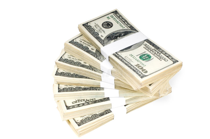 Isolated Stacks of Money royalty free stock photography