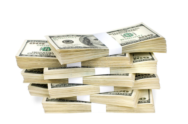 Isolated Stacks of Money stock photo