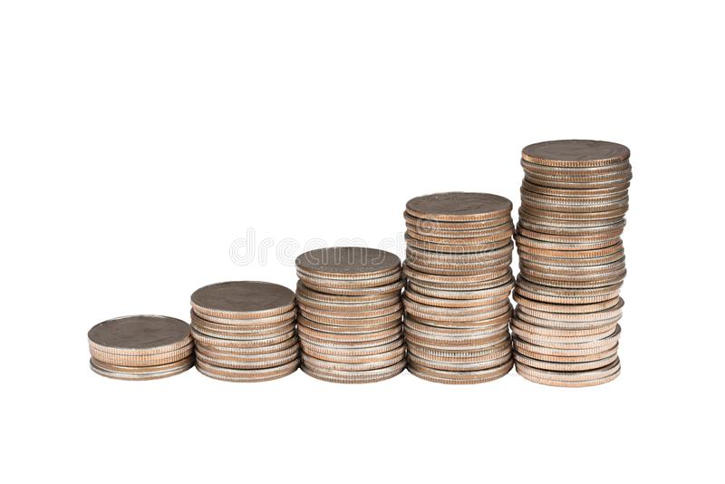 Ascending stack of quarters. Isolated stacks of quarter dollar coins arranged in an ascending order stock photo