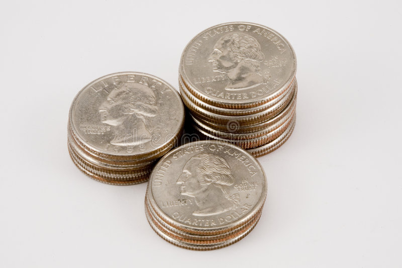 Download Isolated Stacks Of Quarters Stock Image - Image: 6792017
