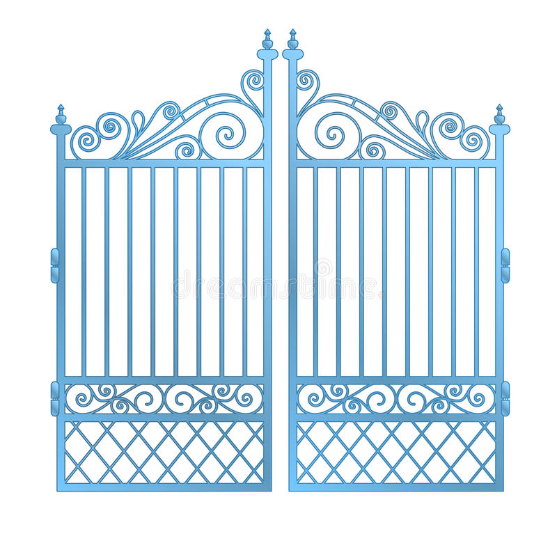 Isolated steel decorated baroque gate vector stock illustration