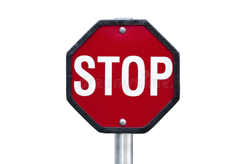 Isolated stop red sign with white letters royalty free stock photo
