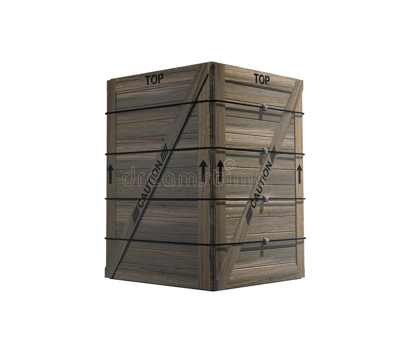 Isolated Strapped Wooden Crate Stock Photography
