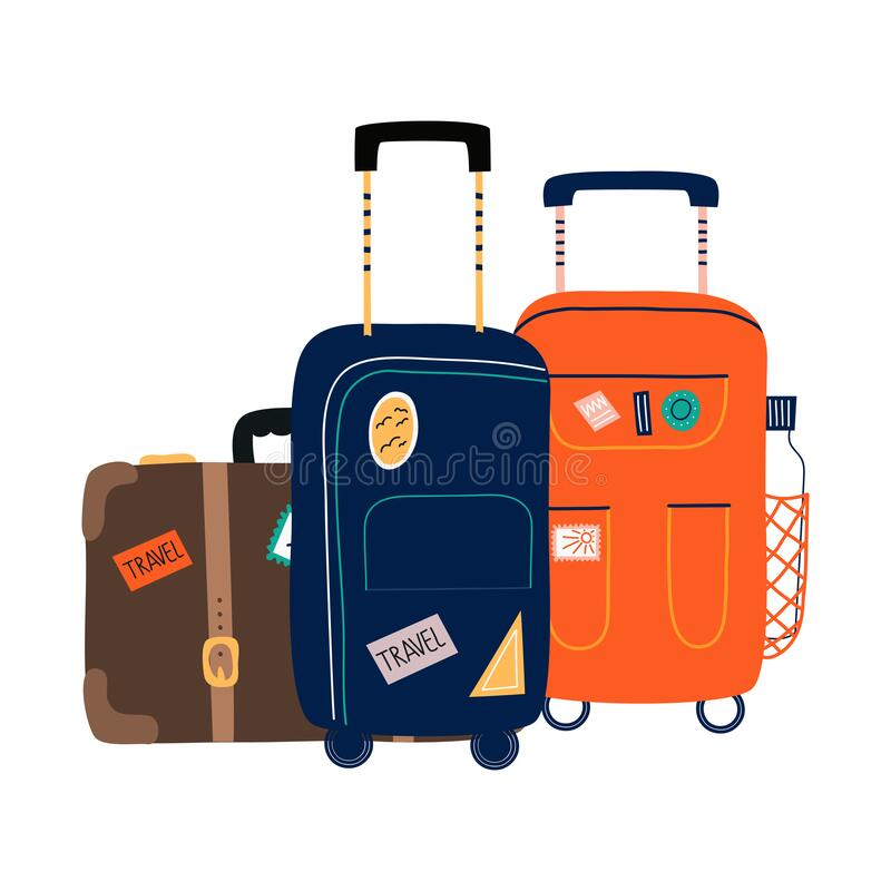 Isolated Suitcases with wheels. Travel bag with various stickers.Hand drawn vector illustration in flat cartoon style. royalty free illustration