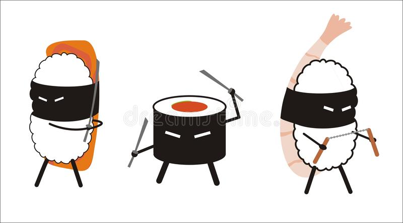 Isolated sushi ninja. Sushi ninja in cartoon style stock illustration