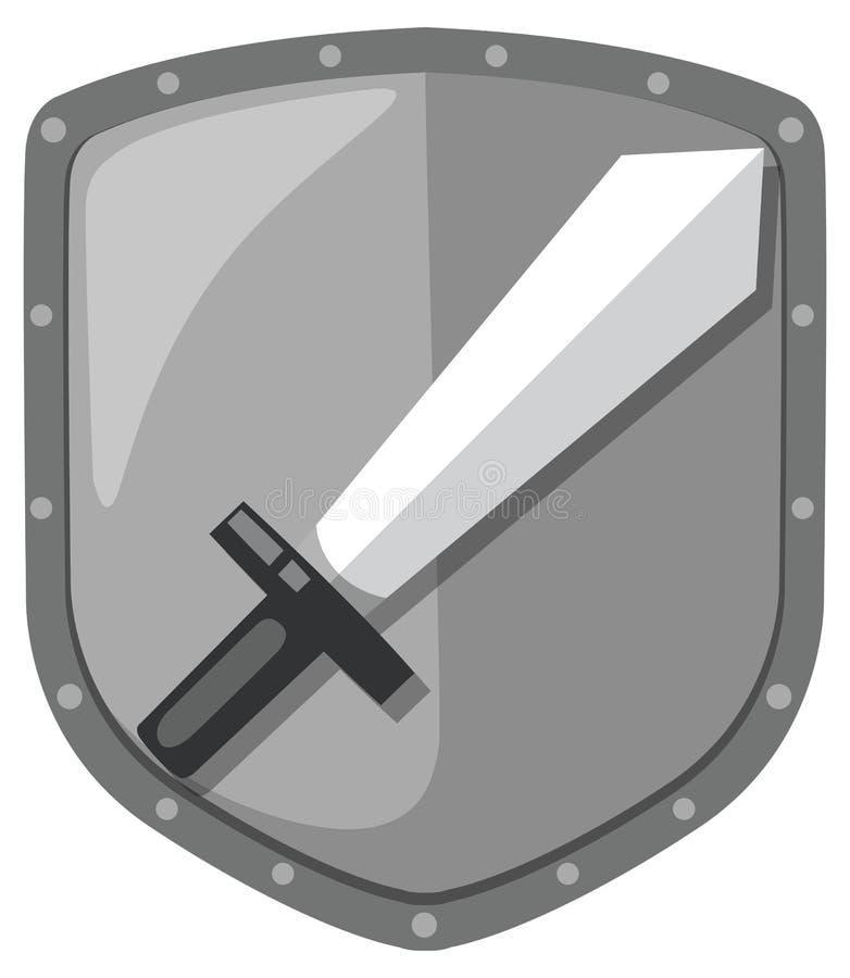 Isolated sword shield logo. Illustration stock illustration