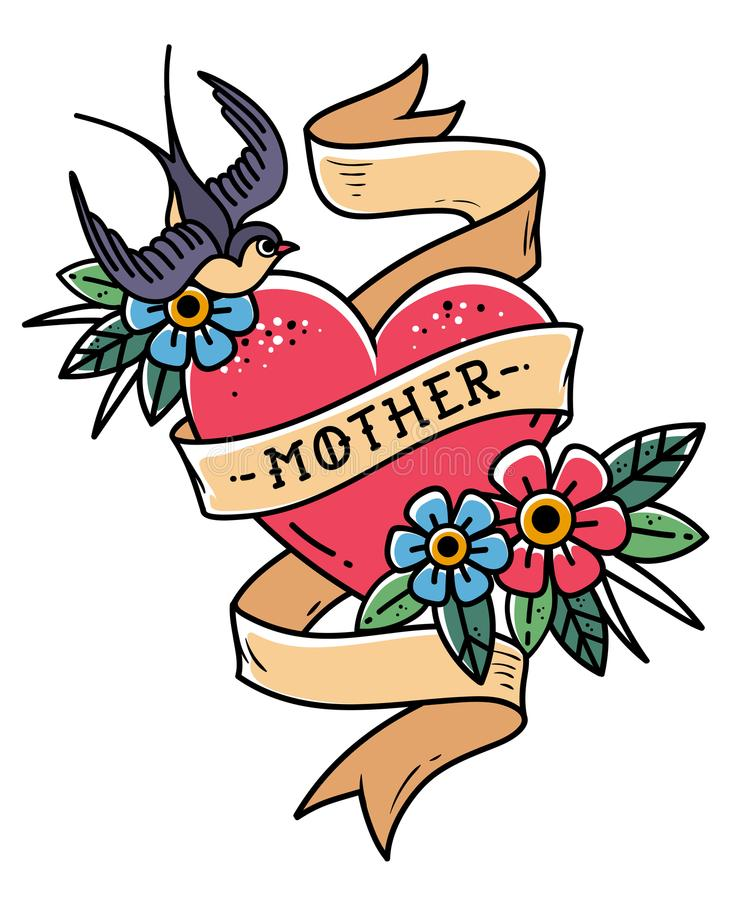 Isolated tattoo red heart with ribbon, swallow, flowers and word Mother. Vector illustration for Mother Day. Old school. Retro illustration. Retro tattoo royalty free illustration