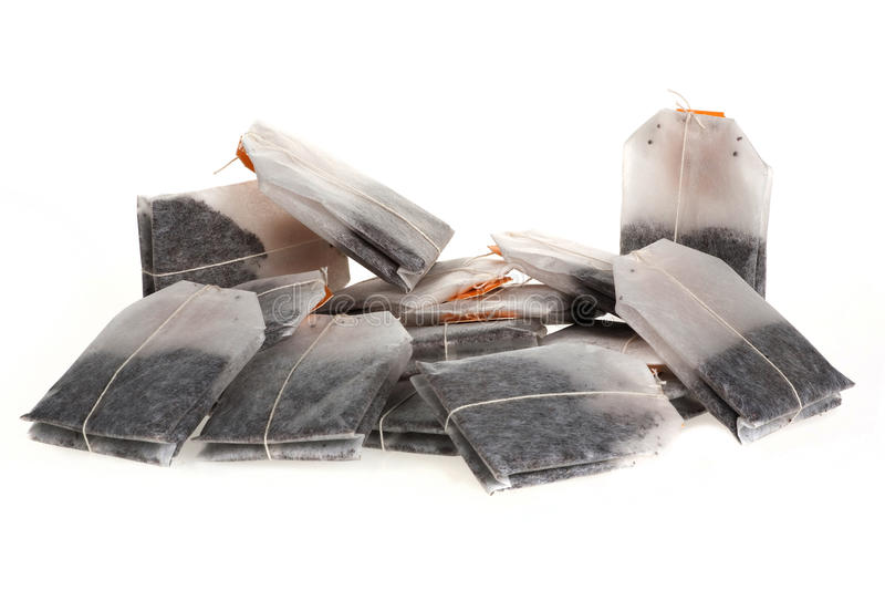 Isolated tea bags royalty free stock photography