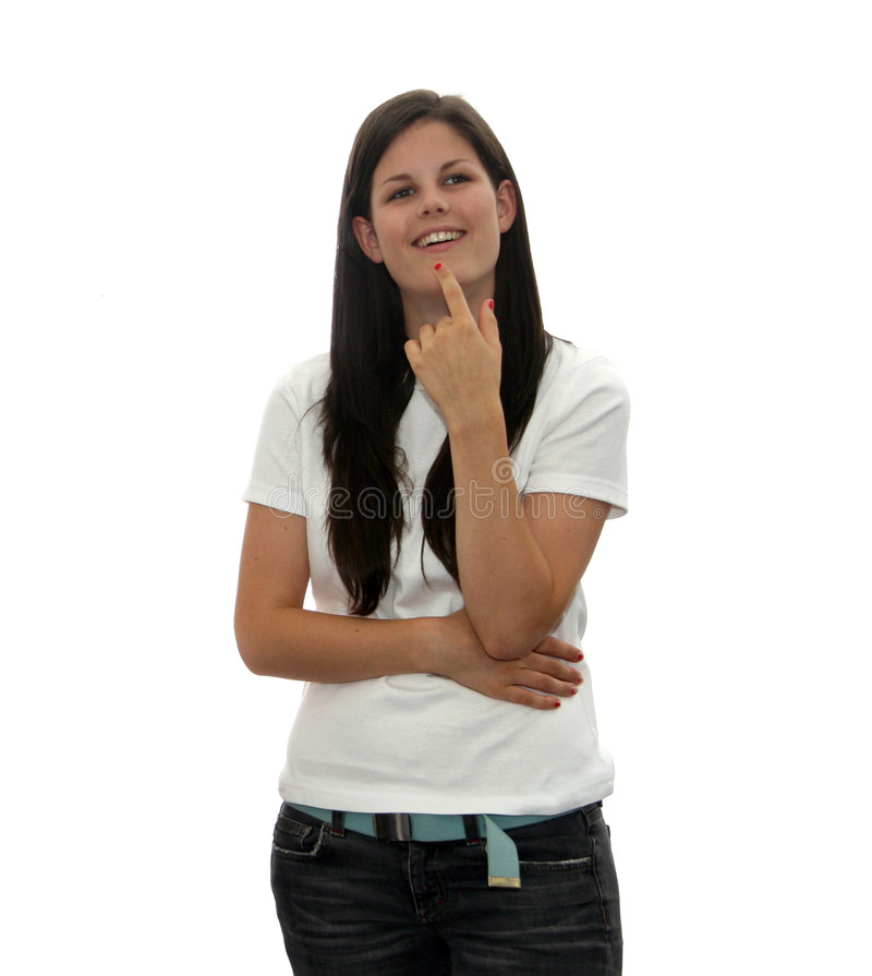Download Isolated teen thinker stock photo. Image of grin, female - 8023942