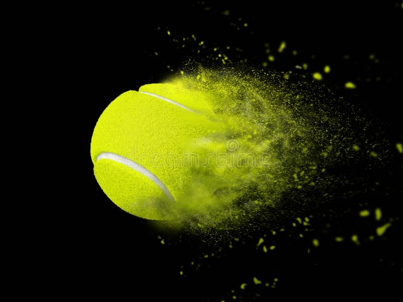 Isolated tennis ball with speed power effect royalty free stock photography