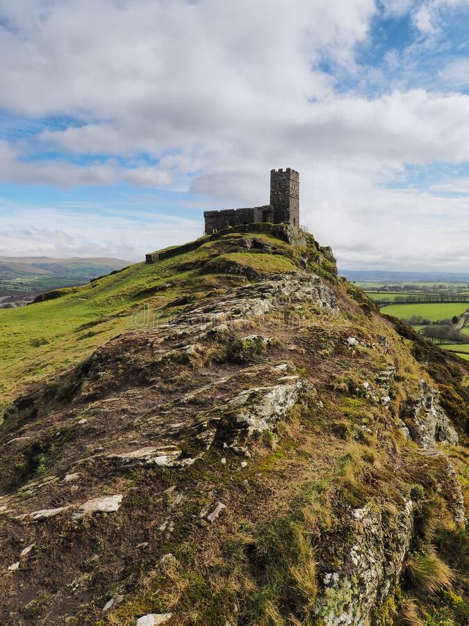 13th century church of St Michael de Rupe on top of Brent Tor, an old weathered volcano, Dartmoor National Park, Devon stock photo