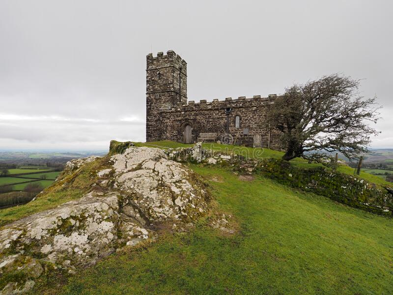 13th century church of St Michael de Rupe on top of Brent Tor, an old weathered volcano, Dartmoor National Park, Devon royalty free stock photos