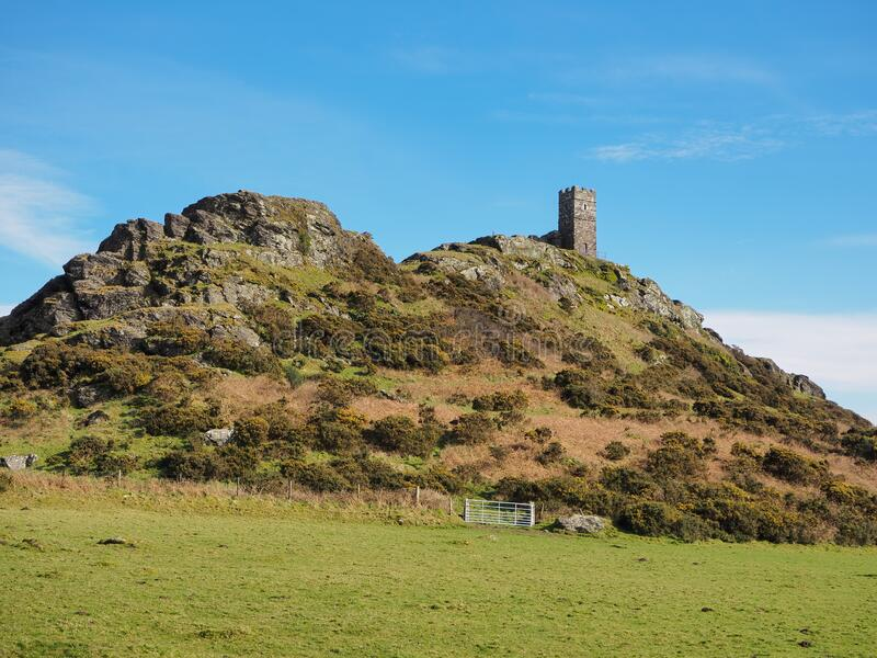 13th century church of St Michael de Rupe on top of Brent Tor, an old weathered volcano, Dartmoor National Park, Devon stock image
